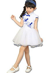 Girl's Going out Floral Dress,Cotton / Others Summer Blue / Red