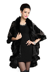 Women's Going out Formal Party Cocktail Vintage Sophisticated Long Cloak / Capes Plaid Shawl Imitation Fox Fur Coat