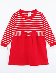 Girl's Casual/Daily Striped Dress / Sweater & CardiganCotton Fall Red