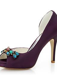 Homme-Mariage / Habillé / Soirée & Evénement-Violet-Talon Aiguille-Talons-Chaussures à Talons-Soie