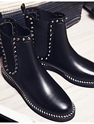 Women's Boots Fall / Winter Combat Boots Leather Outdoor Flat Heel Beading Black / White Others