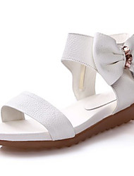 Girl's Sandals Summer Sandals / Open Toe Nappa Leather Casual Flat Heel Bowknot Black / White Others