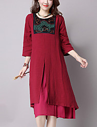 Women's Casual/Daily Street chic Loose Dress,Embroidered Midi ¾ Sleeve Blue / Red / Black Cotton / Linen Fall