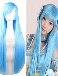 barato 80 cm de comprimento comprimento luz azul de seda miku perucas cosplay lolita