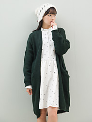Women's Going out / Casual/Daily Simple / Street chic Long CardiganSolid Red / Green