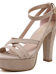 Women's Heels Chunky High Heel Ankle Strap Sandals with Black and Almond Colors Available