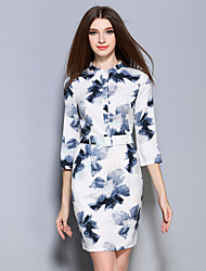 AINIER  Women's Formal Chinoiserie Sheath DressFloral Stand Above Knee Sleeve White Linen / Polyester Spring
