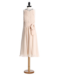 LAN TING BRIDE Tea-length Chiffon Junior Bridesmaid Dress Sheath / Column Jewel Natural with Draping Ruching Sequins