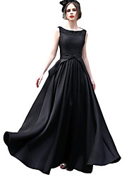 Formal Evening Dress A-line Scoop Floor-length Satin with Beading / Bow(s)