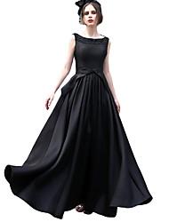 A-line lopatka krk podlaha délka saténové formální večerní šaty s obrubník luk (y)