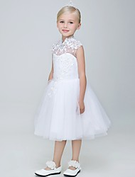 Ball Gown Knee-length Flower Girl Dress - Tulle Sleeveless High Neck with Appliques / Beading