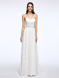 Sheath / Column Wedding Dress Sweep / Brush Train Sweetheart Lace with Crystal / Lace