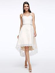 Lanting Bride® Trapèze Robe de Mariage  Asymétrique Bretelles Tulle avec Appliques / Cristal