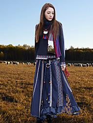 Damen Röcke - Chinoiserie Midi Wolle / Polyester Unelastisch