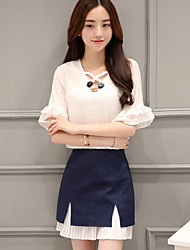 Women's Going out Cute Summer Set Skirt Suits,Patchwork V Neck ½ Length Sleeve White Polyester Medium