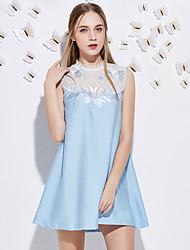 Trapèze Robe Femme Sortie Mignon,Mosaïque Col Ras du Cou Au dessus du genou Sans Manches Bleu / Rose Polyester Eté Taille NormaleNon