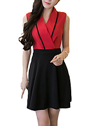 Women's Casual/Daily Sexy A Line Dress,Patchwork V Neck Mini Sleeveless Red / White / Black Cotton Summer