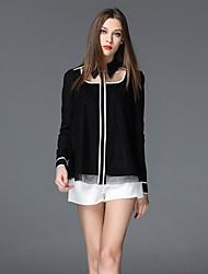 frmz sortir simple ressort / descente chemise shirtsolid col à manches longues en coton noir / moyen de polyester