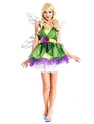 Costumes de Cosplay / Costume de Soirée Princesse Fête / Célébration Déguisement Halloween Vert Mosaïque Robe / Plus d'accessoires