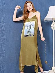 Ample Robe Aux femmes Sortie Chic de Rue,Motif Animal Col en V Maxi Sans Manches Or Polyester Eté