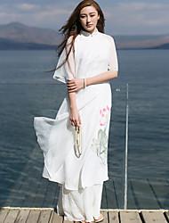 Ample Robe Femme Décontracté / Quotidien Chinoiserie,Fleur Mao Mi-long ½ Manches Blanc Autres Eté Taille Normale Non Elastique Moyen
