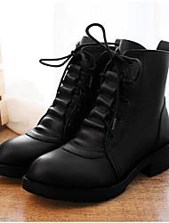 Черный-Женский-Для праздника-Кожа-На конусовидном каблуке-Сапоги для верховой езды-Ботинки