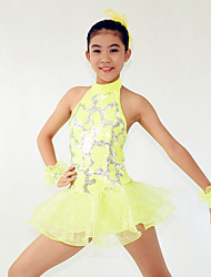 Jazz Dresses Women's / Children's Performance Spandex  / Cascading Ruffle / Paillettes / Flower(s) / Sequins 4 Pieces