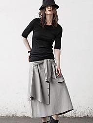 De las mujeres Faldas-Midi Simple Rígido-Algodón