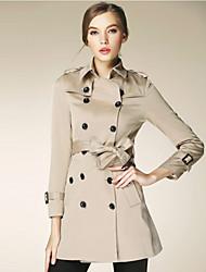 burdully mulheres que saem simples trincheira coatsolid colarinho da camisa de manga longa queda média de algodão preto / marrom