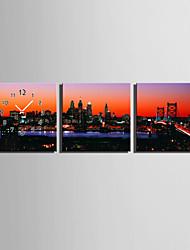 Quadratisch Modern/Zeitgenössisch Wanduhr , Anderen Leinwand40 x 40cm(16inchx16inch)x3pcs/ 50 x 50cm(20inchx20inch)x3pcs/ 60 x