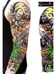 1Pcs New Unisex Full Arm Waterproof Tattoo Sticker Men And Women Halloween Skull Temporary Tattoo Sticker Body Art