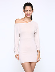 Women's Hot Sale Bateau Batwing Sleeve Bodycon Solid Mini Dress