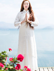 Ample Robe Femme Décontracté / Quotidien simple / Chinoiserie,Broderie Mao Maxi Manches Longues Blanc Autres Automne Taille NormaleNon