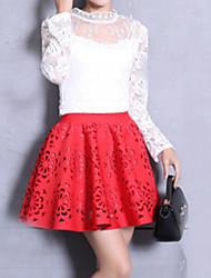 Jupes Aux femmes Mini Vintage / Street Chic Coton / Polyester Non Elastique