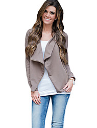 Women's Going out / Casual/Daily Simple Spring / Fall Zipper Irregular JacketsSolid Cowl Long Sleeve