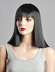 Black Color Middle Straight Wigs Capless Synthetic Wigs For Women