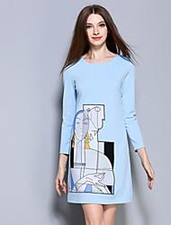 ainier Frauen Casual / Tages einfachen Mantel dressprint Rundhalsausschnitt über Knie lange Ärmel blau Polyester / Spandex