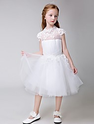 Ball Gown Knee-length Flower Girl Dress - Tulle Short Sleeve Jewel with Appliques