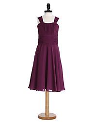 2017 Lanting bride® na altura do joelho chiffon dama de honra júnior vestir uma linha de tiras com drapeados / faixa / fita / ruching
