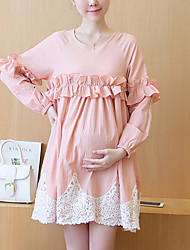 Maternity Casual/Daily Simple Loose Dress,Solid Round Neck Above Knee ½ Length Sleeve Pink Cotton Summer