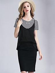 Eosciy® Damen Rundhalsausschnitt Kurze Ärmel Über dem Knie Kleid-80206