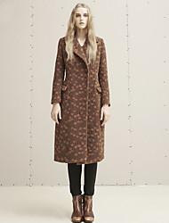 Damen Druck Einfach Ausgehen / Lässig/Alltäglich Mantel,Winter Gekerbtes Revers Langarm Braun Dick Wolle / Kunstseide / Polyester