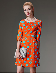 Women's Going out Vintage A Line DressFloral Round Neck Above Knee  Length Sleeve Orange Polyester Fall