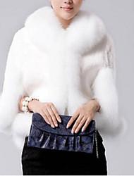 Women's  Fox Collars Acura Rabbit Fur Shawl Fur Coat