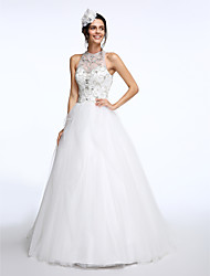 LAN TING BRIDE A-line Wedding Dress See-Through Court Train Jewel Tulle with Beading