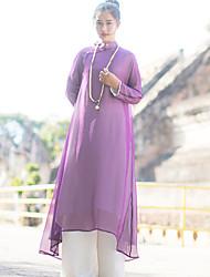 Ample Robe Femme Sortie simple / Chinoiserie,Couleur Pleine Mao Mi-long Manches Longues Violet Autres Printemps Taille NormaleNon