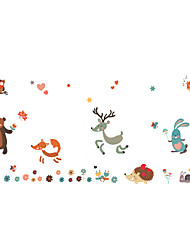 Wall Stickers Wall Decals Style Christmas Lovely Deer Squirrel PVC Wall Stickers