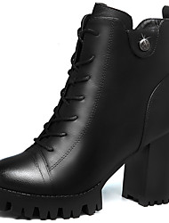 Damen-Stiefel-Büro Lässig-Pelz-Blockabsatz-Modische Stiefel-Schwarz Rot