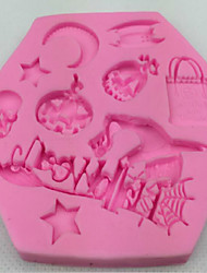 The Stars The Moon Bats Pumpkin Halloween Witches Turned Sugar Silicone Mold DIY Baking Cake Decorating Tools 8*8