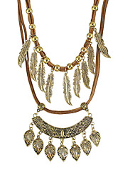 Multilayers Pu Leather Hanging Leaf Shape Necklaces for Women